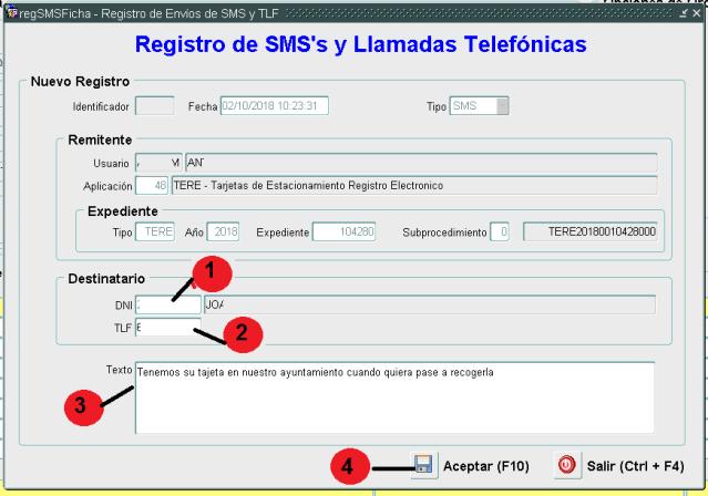 ALTA DE SMS