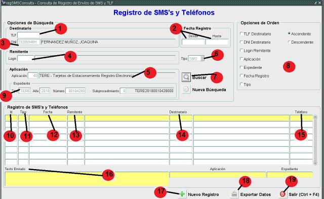 registro de sms o llamadas telefónicas realizadas o por realizar
