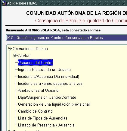 icc opcion usuarios centro