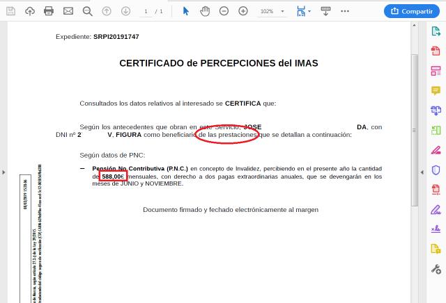 SRPI certifiado importes año actual