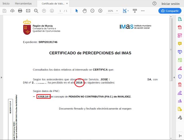 srpi certificado importes año anterior