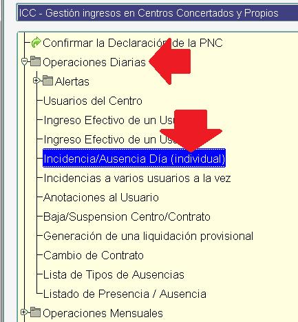 icc menu de incidencias
